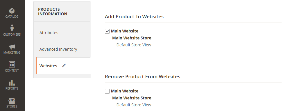 Assign all products to the website in Magento 2