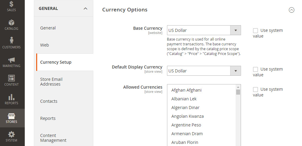 Magento 2 Currency Options, Base Currency,Default Display Currency,Allowed Currencies