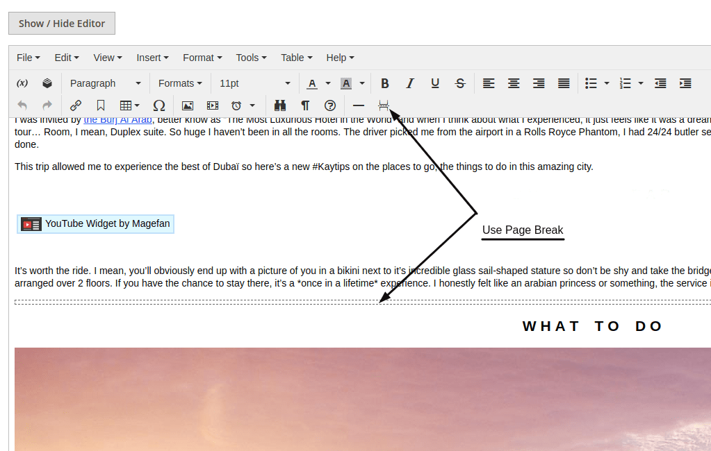 Add Page Break in Magento 2 Blog