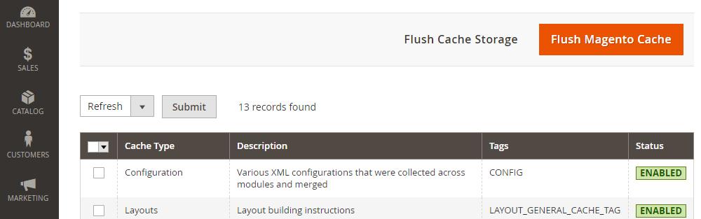 Magento 2Cache Management, Flush Magento Cache