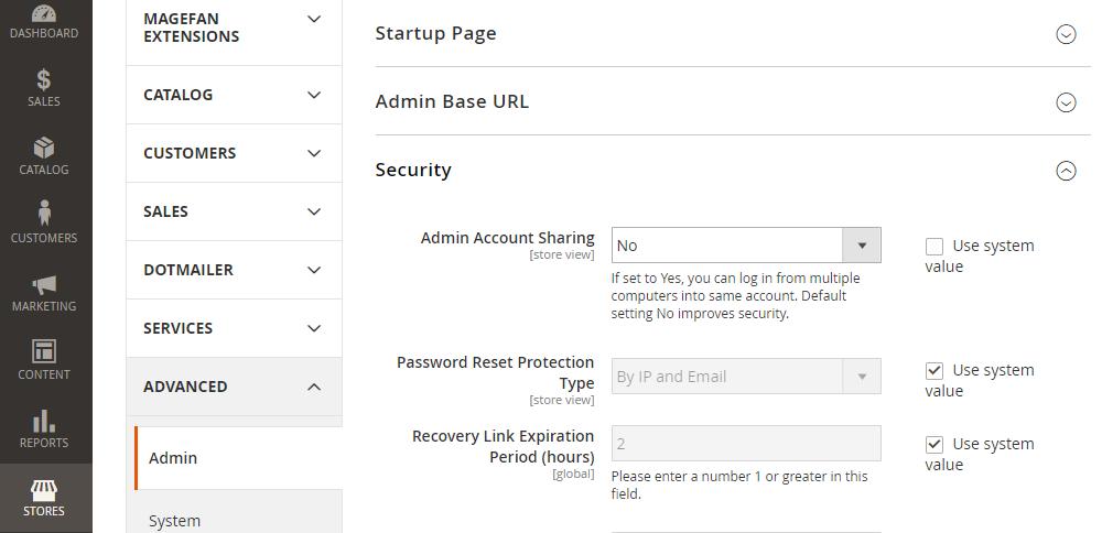 Magento 2 Configuration, Security