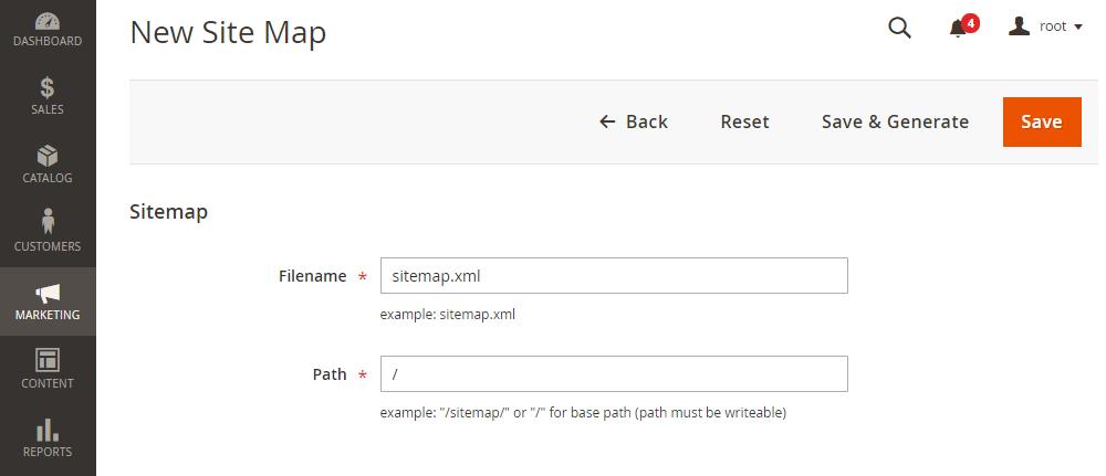 Magento 2 XML Sitemap Configuration, New Site Map
