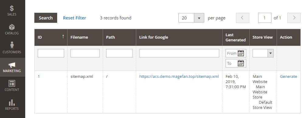 Magento 2 XML Sitemap List
