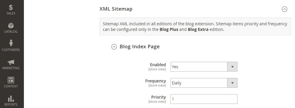 Magento 2 Blog XML Sitemap Configuration, Blog Index Page