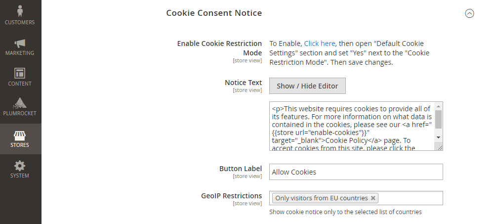 Magento 2 Cookie Consent Notice, GeoIP Restrictions