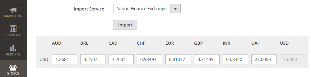 Magento 2 Currency Rates,Import Service