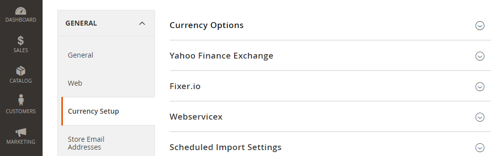 Magento 2 currency setup,currency options