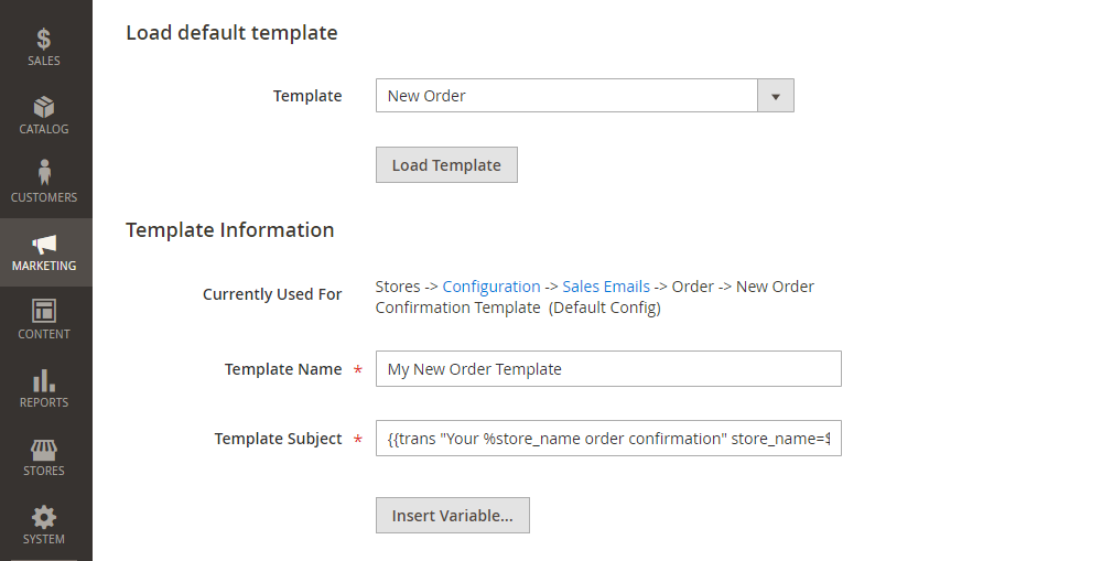 Magento 2 Transaction Email Template, Load Default Template