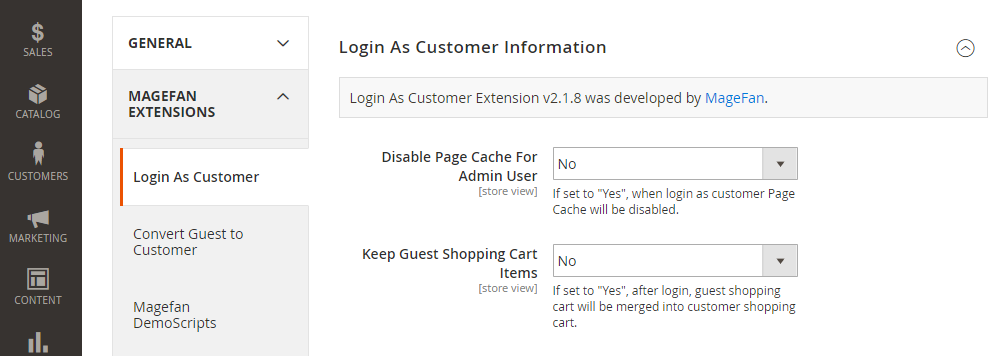 Magento 2 Login as Customer,Information