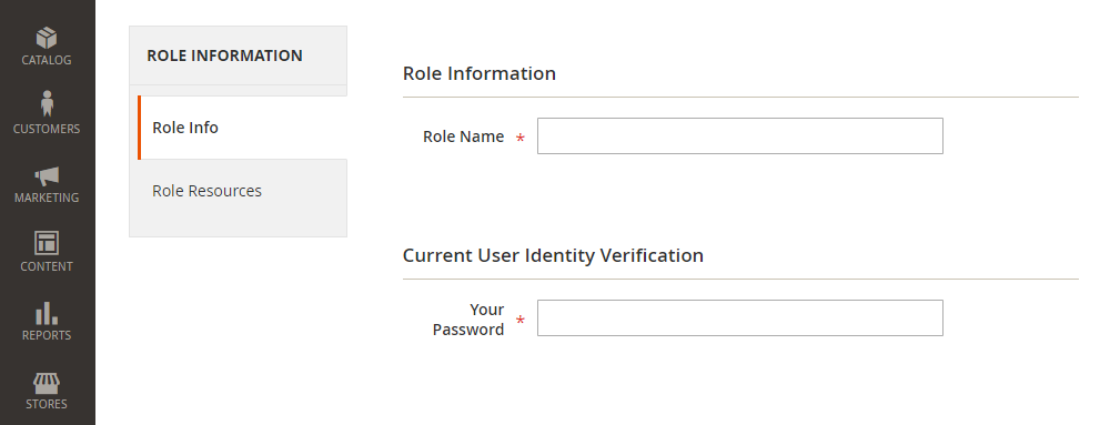 Magento2 New Role,Role Information