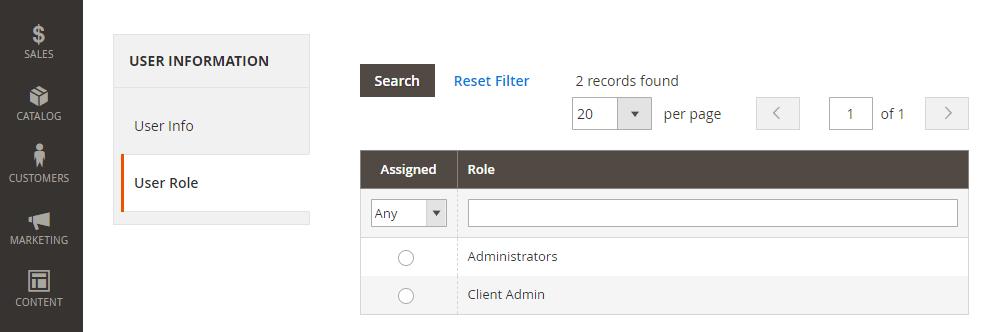 Magento 2 New User,User Role