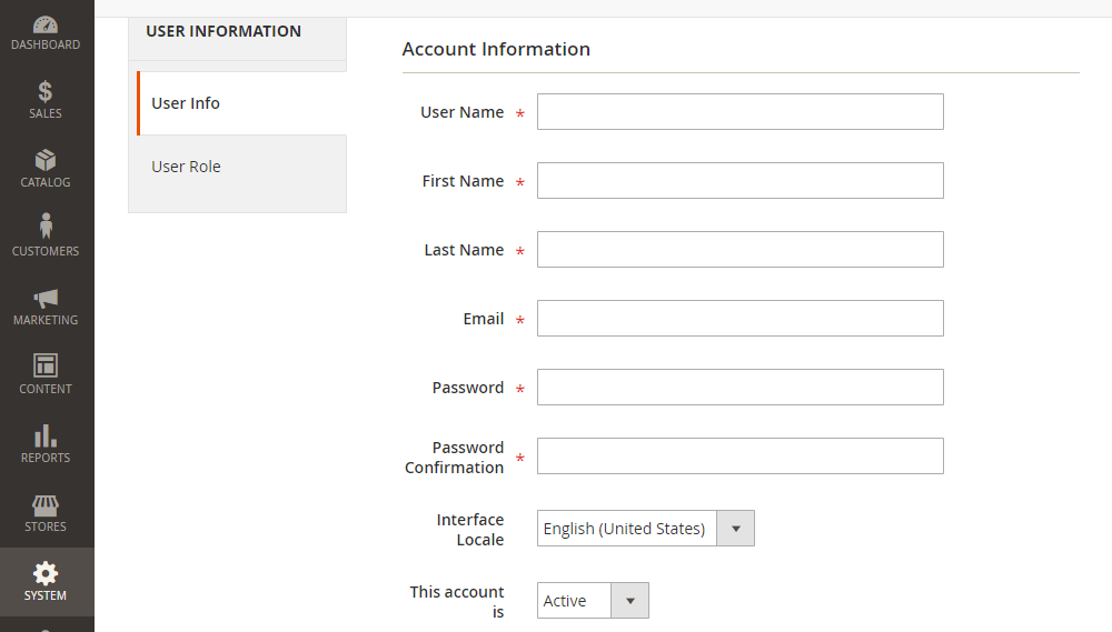Magento 2 New User,Account Information