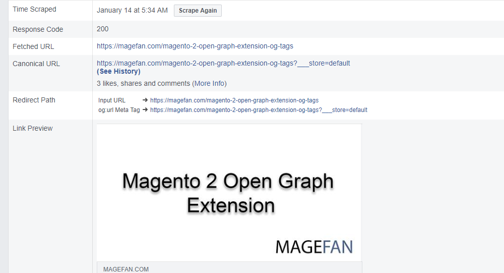 Magento 2 Open Graph Tags Validation, Result