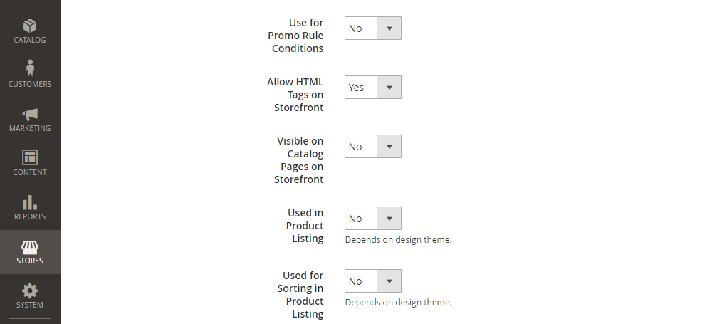 Magento 2 Product Attribute, Storefront Properties