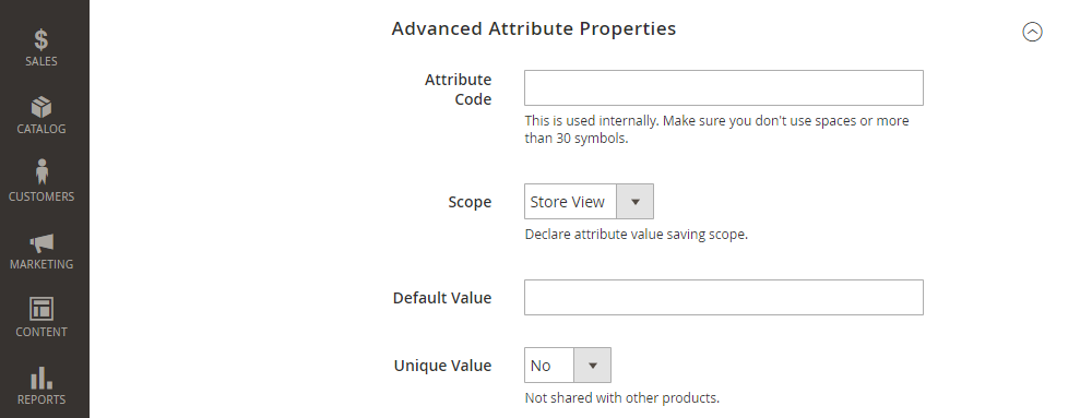 Mageneto 2 Product Attribute, Advanced Attribute Properties