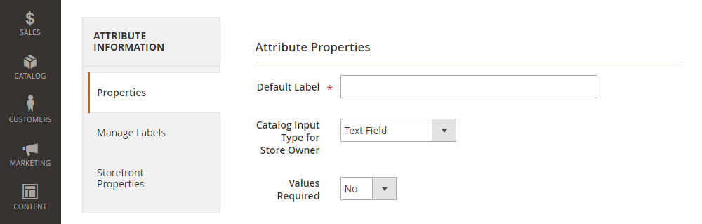 Magento 2 Product Attribute, Attribute Properties