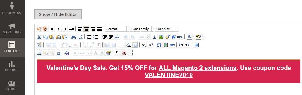 Magento 2 WYSIWYG editor
