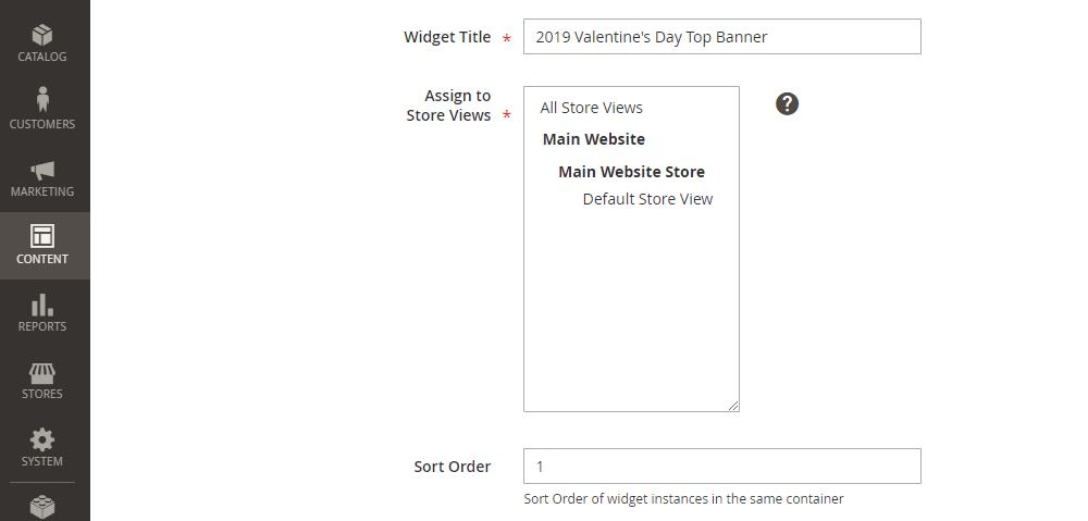 Magento 2 Widget Configuration